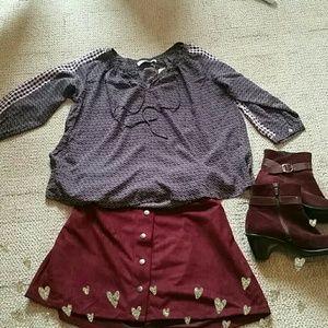 2/$10 or  3/$16 Rue 21 Burgundy Ultrasuede Skirt