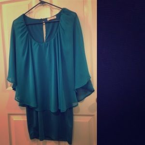Dresses & Skirts - Silky teal dress with sheer top connected
