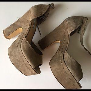 Taupe Steve Madden Grettta Chunky straps heels