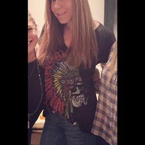 Lauren Moshi Tops - Lauren Moshi Indian skull oversized tshirt