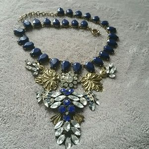 Statement necklace  ( blue stone and brass color)