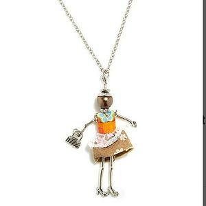 Jewelry - UNIQUE💗Orange & Silvertone Woman Pendant Necklace