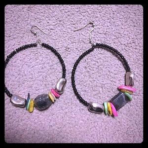 Black beaded hoops with stones