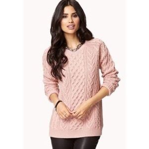 FOREVER 21 ESSENTIALS CABLE KNIT SWEATER LARGE
