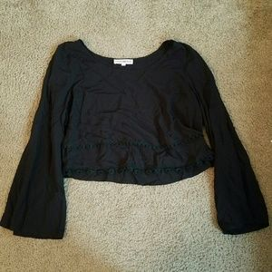 Black cropped bell sleeved shirt