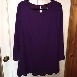 'Peppermint' Purple Shift Scalloped Dress