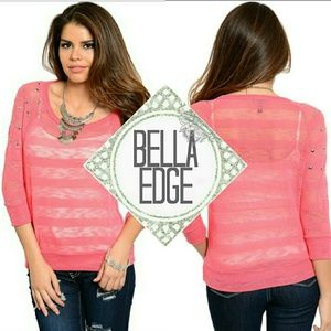 Bella Edge Sweaters - Coral striped studded shoulder sweater
