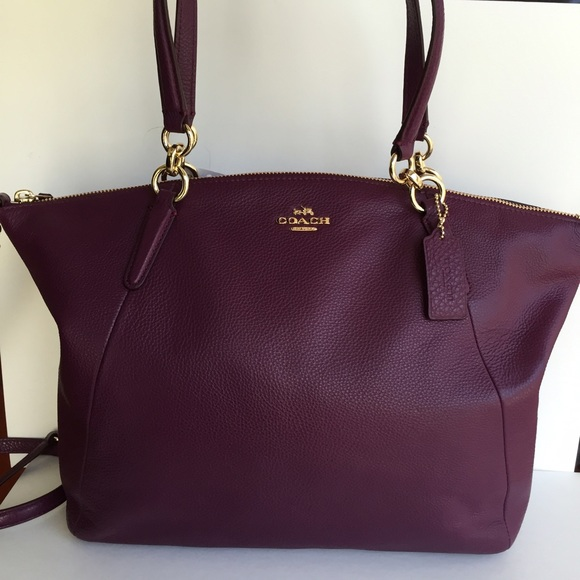 87a8350cfc COACH KELSEY SATCHEL IN PEBBLE LEATHER PLUM