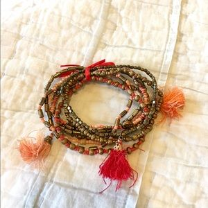 Jewelry - Layering bracelet red bronze with tassels