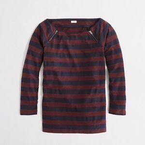 J. Crew striped zipper top