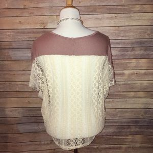 B Jewel Tops - Lace Back Taupe Flowy Tee