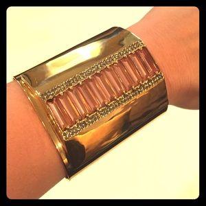 Louise et Cie gold cuff w/ pink gems & rhinestones