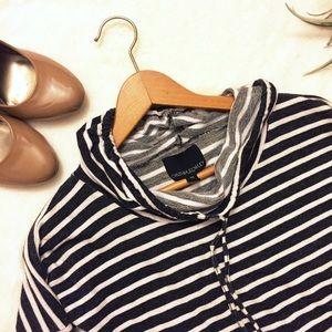Cynthia Rowley Striped Cowl Neck Cotton Top xs