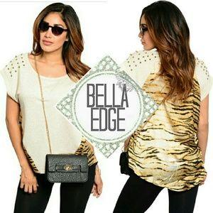 Bella Edge Tops - Beige tiger print studded shoulder top