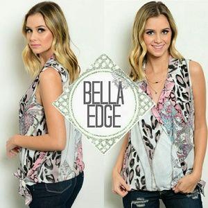Bella Edge Tops - LAST//Multi animal paisley print  collar top