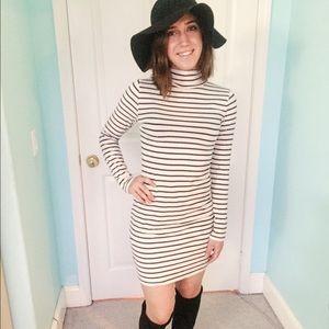 H&M Striped bodycon turtleneck dress