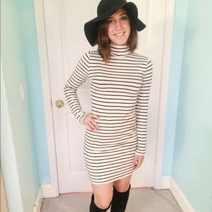 H&M Dresses - H&M Striped bodycon turtleneck dress