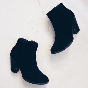 • Black Suede Ankle Booties •