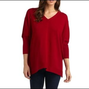 Eileen Fisher Sweaters - Eileen Fisher Red Textured Knit V-Neck Sweater L