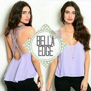 Bella Edge Tops - Lavender lilac lace trim tank top