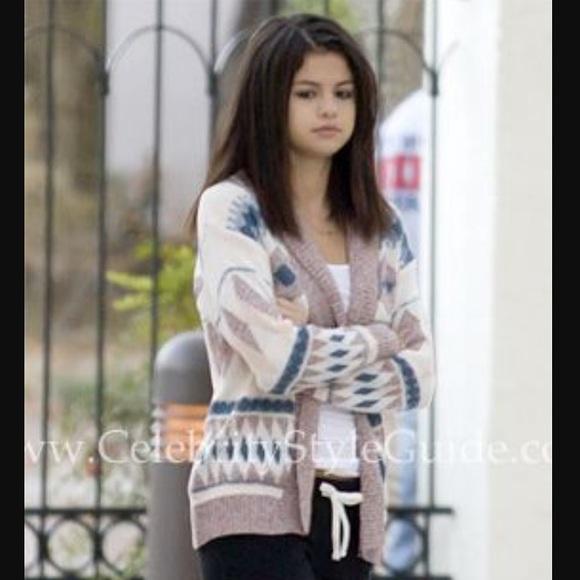 5bbbfc738f Sparkle & Fade Aztec cardigan seen on Selena Gomez