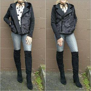 Jackets & Blazers - Faux fur detailed moto jacket