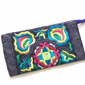 Handmade Handbags - New NavyBlue Handmade Embroidered Wristlet