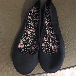 Black fabric ballet shoes/U
