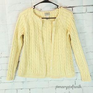 L.L. Bean Sweaters - {Vintage} L.L. Bean Yellow Cable Knit Cardigan M
