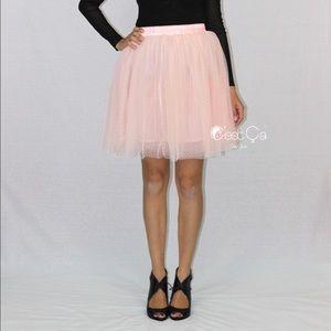 Beth Blush Pink Polka Dot Tulle Skirt