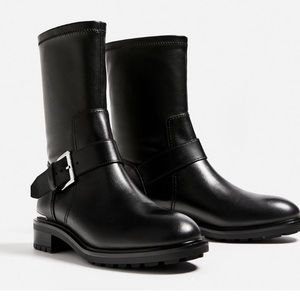 Zara Black Leather Biker Boots with Buckle