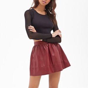 Forever 21 Dresses & Skirts - Forever21 Burgundy Vegan Leather Mini Skirt