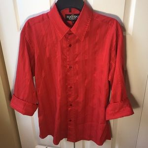 reminni Other - Red men's cuffed sleeve button down shirt