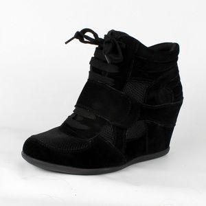 Black suede hidden wedge sneaker (Dakota Black)