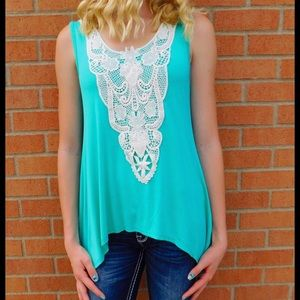 Vanilla Bay Tops - Vanilla Bay Teal with Vintage Ivory Lace Blouse