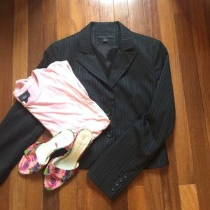 Express Jackets & Blazers - Express Pin Stripe Navy Suit Jacket Size 4 Petite