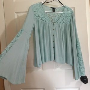 Free People Tops - NEW BOHO LACE MINT TOP BELL SLEEVES