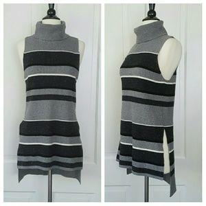 Lou & Grey Sweaters - Lou & Grey Sleeveless Striped Turtleneck Sweater
