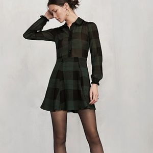 Reformation Dresses & Skirts - Reformation Amberly Green Black Plaid Shirt Dress