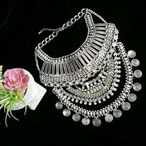 Bohemian Silvertone Bib Necklace!