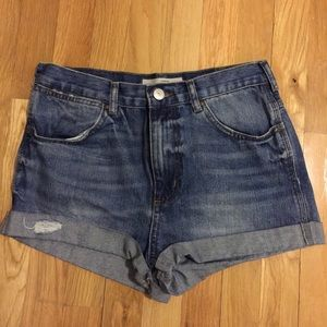 Topshop Pants - Topshop High Rise Moto Denim Jean Shorts