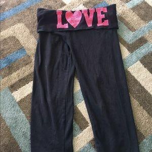 Pink crop yoga pants