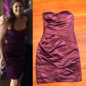 Bill Levkoff Dresses & Skirts - Bill Levkoff strapless plum satin-look dress