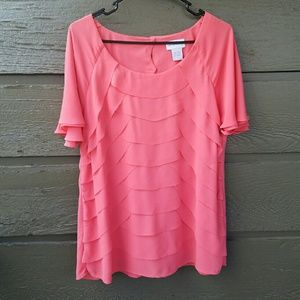 Soft Surroundings  Tops - Soft Surroundings Tiered Coral Top