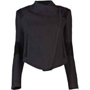 Helmut Lang Strata Wool and Leather Jacket