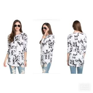 The Blossom Apparel Tops - LETTER PRINTED 3/4 SLEEVE TOP