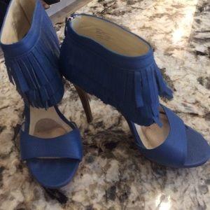 Royal blue fringed heels