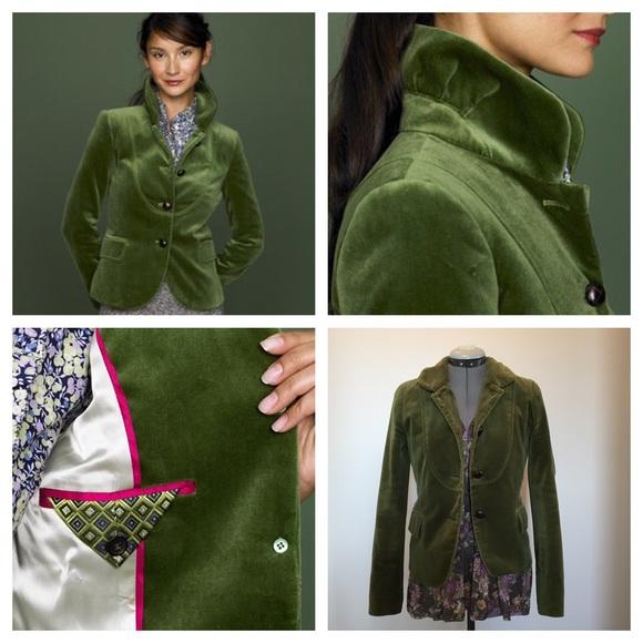 5727947a2ef8 J. Crew Jackets & Coats | J Crew Bella Velvet Blazer Moss Green 2007 ...