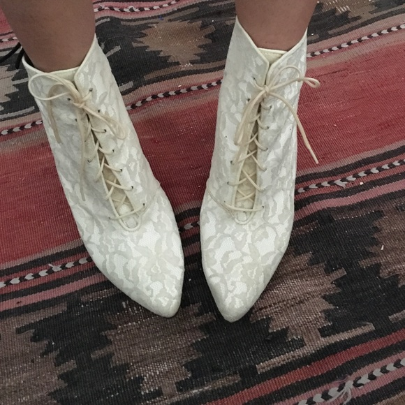 Vintage White Lace Wedding Granny Boots