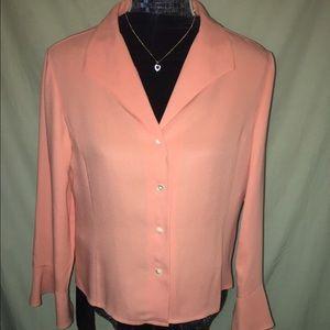 Talbots pure silk, salmon blouse